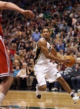 Steve Griffin  |  The Salt Lake Tribune  Utah's powers his way into the lane during first half action of the Utah Jazz versus Milwaukee Bucks game at EnergySolutions Arena in Salt Lake City, Utah  Tuesday, January 3, 2012.