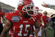 Trent Nelson  |  The Salt Lake Tribune John White celebrates his game-winning touchdown as the University of Utah defeats Georgia Tech, college football at the Sun Bowl in El Paso, Texas, Saturday, December 31, 2011.
