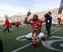 Trent Nelson  |  The Salt Lake Tribune Utah's John White celebrates his game-winning touchdown in overtime as the University of Utah faces Georgia Tech, college football at the Sun Bowl in El Paso, Texas, Saturday, December 31, 2011.