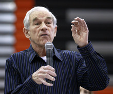 Republican presidential candidate,  Rep. Ron Paul, R-Texas speaks during a campaign stop at Valley High School, Tuesday, Jan. 3, 2012, in West Des Moines, Iowa. (AP Photo/Charlie Riedel)