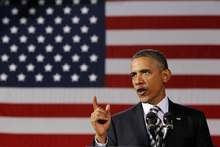President Barack Obama speaks about the economy, Wednesday, Jan. 4, 2012, at Shaker Heights High School in Shaker Heights, Ohio. (AP Photo/Haraz N. Ghanbari)
