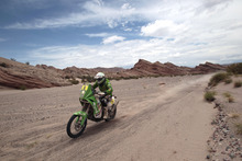 Norway's biker Anders Ullevalseter rides his KTM in the fourth stage of the 2012 Argentina-Chile-Peru Dakar Rally between San Juan and Chilecito, Argentina, Wednesday Jan. 4, 2012. (AP Photo/Martin Mejia)