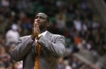 Steve Griffin  |  The Salt Lake Tribune  Utah head coach Tyrone Corbin clasps his hands together after a foul call went against the Jazz during first half action of the Utah Jazz versus Milwaukee Bucks game at EnergySolutions Arena in Salt Lake City on Tuesday, Jan. 3, 2012.
