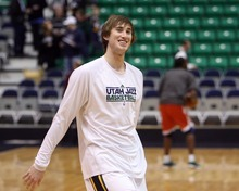 Steve Griffin  |  The Salt Lake Tribune  Jazz guard Gordon Hayward laughs during warm-up before game against the Bucks at EnergySolutions Arena in Salt Lake City, Utah  Tuesday, January 3, 2012.