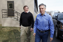 Matt Rourke  |  The Associated Press  Republican presidential candidate and former Utah Gov. Jon Huntsman, accompanied by former Pennsylvania Gov. and Homeland Security Secretary Tom Ridge, leave an event at Globe Manufacturing on Wednesday in Pittsfield, N.H.