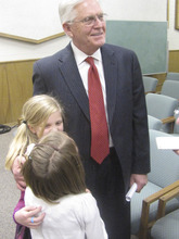 V. Lowry Snow was elected Tuesday night  to fill Utah House seat of David Clark who resigned to run for Congress. Lowry is congratulated by granddaughtres, Hallie Hinton, 8, with blonde hair, and Stella Stoddard, 7. Mark Havnes/The Salt Lake Tribune