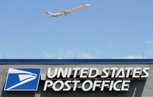 Steve Griffin     The Salt Lake Tribune file photo  Jets fly over the airport U.S. Post Office as they take off from the Salt Lake City International Airport. The Post Office is considering closing this office along with 13 other offices in Utah.