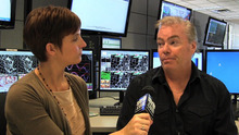 Kim McDaniel interviews hydrologist Brian McInerney at the National Weather Service office in Salt Lake City.
