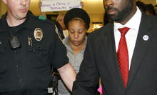 Jakadrien Turner, 15, arrives at DFW Airport in Fort Worth, Texas, on Friday Jan. 6, 2012. Turner, was mistakenly deported to Colombia after Immigration and Customs Enforcement say she claimed to be Colombian woman named Tika Lanay Cortez, 21, when she was arrested in April for theft by Houston Police. She ran away from her Dallas home in November 2010. (AP Photo/Mike Fuentes)