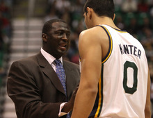 Rick Egan  | The Salt Lake Tribune   Tyrone Corbin gives chats withEnes Kanter (0) during a pause in the action, in NBA action, Utah Jazz vs. The New Orleans Hornet's, at EnergySolutions Arena, Monday, January 2, 2012.