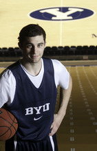 BYU guard Matt Carlino poses for a portrait at the Marriott Center in Provo Tuesday, January 3, 2012. Photo by Jason Olson