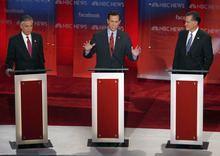 Former Pennsylvania Sen. Rick Santorum, center, answers a question as former Utah Gov. Jon Huntsman, left, and former Massachusetts Gov. Mitt Romney, right, listen during a Republican presidential candidate debate at the Capitol Center for the Arts in Concord, N.H., Sunday, Jan. 8, 2012. (AP Photo/Charles Krupa)