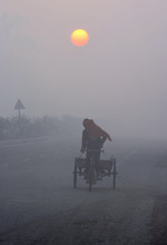 An Indian rickshaw puller makes his way in the morning fog on the outskirts of Amritsar, India, Tuesday, Jan. 10, 2012. Though India is famous for its brutally hot summers, temperatures fall sharply for a few weeks in December and January. (AP Photo/Sanjeev Syal)