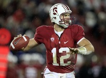 Stanford quarterback Andrew Luck (12) throws against California during the first quarter of an NCAA college football game in Stanford, Calif., Saturday, Nov. 19, 2011. (AP Photo/Marcio Jose Sanchez)