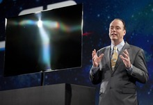 Julie Jacobson  |  The Associated Press Tim Baxter, president of consumer electronics for Samsung America, introduces the Samsung 55-inch OLED TV during a news conference at the International Consumer Electronics Show in Las Vegas. The TV uses uses organic light-emitting diodes, or OLEDs, instead of plasma or liquid crystals.