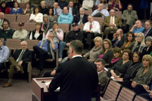Paul Fraughton | The Salt Lake Tribune. Salt Lake County Mayor, Peter Corroon delivers his state of the county address in the Salt Lake County Council chambers.  Tuesday, January 10, 2012