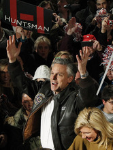 Republican presidential candidate, former Utah Gov. Jon Huntsman reacts to the crowd during a campaign rally in Exeter, N.H., Monday, Jan. 9, 2012. (AP Photo/Elise Amendola)