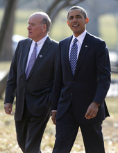 FILE - In this Feb. 7, 2011 file photo, President Barack Obama walks in Lafayette Park in Washington with White House Chief of Staff  William Daley. Administration officials say Daley resigning as White House chief of staff.  (AP Photo/Carolyn Kaster, File)