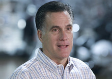 Republican presidential candidate, former Massachusetts Gov. Mitt Romney speaks to reporters after he campaigned at Cherokee Trike and More in Greer, S.C., Thursday, Jan. 12, 2012. (AP Photo/Charles Dharapak)