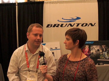 A representative from Brunton, with offices in Lehi, Utah, speaks to The Tribune at the Consumer Electronics Show in Las Vegas. Brunton makes solar chargers and outdoor digital imaging equipment.