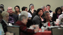 Francisco Kjolseth  |  The Salt Lake Tribune People gather to listen and discuss a number of issues for the second day of the U.S. Conference of Catholic Bishops meetings being held in Salt Lake City.