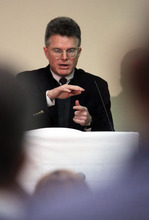 Francisco Kjolseth  |  The Salt Lake Tribune Don Kerwin, executive director for the Center of Migration Studies, leads a discussion for the second day of the U.S. Conference of Catholic Bishops Conference being held in Salt Lake City.