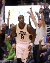 Steve Griffin  |  The Salt Lake Tribune  Utah's Josh Howard heads up court as the fans go crazy after he nailed a shot during overtime of the Jazz versus Lakers game at EnergySlutions Arena in Salt Lake City, Utah  Wednesday, January 11, 2012.