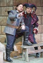 Paul Fraughton | The Salt Lake Tribune Robert McPherson, as The Duke of Mantua, and Guido LeBron as Rigoletto, in the Utah Opera production of Verdi's