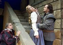 Paul Fraughton | The Salt Lake Tribune.  Guido LeBron as Rigoletto, Celena Shafer as Gilda and Robert McPherson as The Duke of Mantua in the Utah Opera production of Verdi's