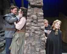 Paul Fraughton | The Salt Lake Tribune.  Robert McPherson as The Duke of Mantua, Kirsten Gunlogson as Maddalena, Guido LeBron as Rigoletto and  Celena Shafer as Gilda  in the Utah Opera production of Verdi's