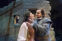 Paul Fraughton | The Salt Lake Tribune  Robert McPherson, as The Duke of Mantua, Kirsten Gunlogson as Maddalena, and  Celena Shafer, as Gilda,  in background,  in the Utah Opera production of Verdi's