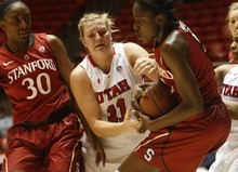 Chris Detrick  |  The Salt Lake Tribune Utah's Taryn Wicijowski (11) fights for the ball with Stanford's Chiney Ogwumike (13) and Stanford's Nnemkadi Ogwumike (30) during the game at the Huntsman Center Thursday January 12, 2012. Stanford won the game 62-43.
