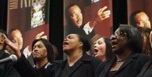 Steve Griffin  |  The Salt Lake Tribune    Members of the Salt Lake City Mass Choir sing during the Matin Luther King Human Rights Foundation luncheon at the Sheraton Hotel in Salt Lake City, Utah  Friday, January 13, 2012.