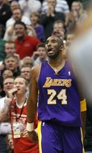 Steve Griffin  |  The Salt Lake Tribune  Kobe Bryant, of the Lakers, sticks out his tongue as he watches his shot go in the basket during second half action of the Jazz versus Lakers game at EnergySlutions Arena in Salt Lake City, Utah  Wednesday, January 11, 2012.