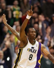 Steve Griffin  |  The Salt Lake Tribune  Utah's Josh Howard holds his finger up after he nailed a three pointer late in the game against the Lakers at EnergySlutions Arena in Salt Lake City, Utah  Wednesday, January 11, 2012.