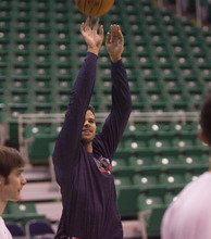 Kim Raff  | The Salt Lake Tribune New Jersey Nets player Kris Humphries during pre-game warmup at EnergySolutions Arena in Salt Lake City on Saturday.