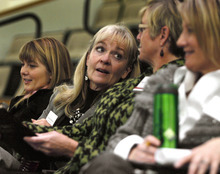 Scott Sommerdorf  |  The Salt Lake Tribune              Representative Christine Watkins, D, Price, listens at a training session for women aspiring to get into politics. Speaks at the panel discussion -