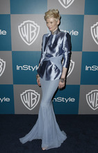 Tilda Swinton arrives at the 2012 Warner Bros. and InStyle Golden Globe After Party at the Beverly Hilton in Los Angeles. on Sunday, Jan. 15, 2012. (AP Photo/Matt Sayles)