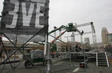 Rick Egan  | The Salt Lake Tribune   Crews set up for the Temple of Boom stage, for the Eve Celebration,  Wednesday, December 28, 2011. The three day celebration starts Thursday.