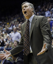 California head coach Mike Montgomery reacts during the second half of an NCAA college basketball game against Colorado, Thursday, Jan. 12, 2012 in Berkeley, Calif. California beat Colorado 57-50. (AP Photo/George Nikitin)