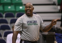 Steve Griffin  |  The Salt Lake Tribune   Utah assistant coach Sydney Lowe laughs during pre game warm up of the Jazz versus Lakers game at EnergySlutions Arena in Salt Lake City, Utah  Wednesday, January 11, 2012.