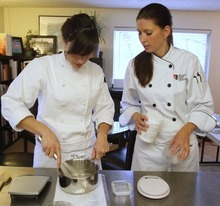 Rick Egan  | The Salt Lake Tribune   Students Tricia Layton (left) and Titjana Provost work on a dish for The Mist Project.