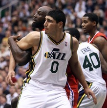 Steve Griffin  |  The Salt Lake Tribune   Utah's Enes Kanter boxes Reggie Evans, of the Clippers, as the Jazz pull away during second half action of the Utah Jazz versus Los Angeles Clippers game at EnergySolutions Arean in Salt Lake City, Utah  Tuesday, January 17, 2012.