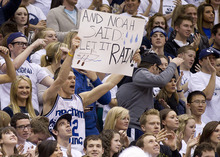 11-12mBKB vs Santa Clara 01   Fans chear on the BYU Men's basketball team in their 95-78 victory over the Santa Clara Broncos.  Photo by Jonathan Hardy/BYU  January 14, 2012  © BYU Photo 2011 All Rights Reserved photo@byu.edu (801) 422-7322