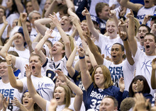 11-12mBKB vs Santa Clara 09   Fans chear on the BYU Men's basketball team in their 95-78 victory over the Santa Clara Broncos.  Photo by Jonathan Hardy/BYU  January 14, 2012  © BYU Photo 2011 All Rights Reserved photo@byu.edu (801) 422-7322