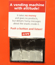 Rick Egan  | The Salt Lake Tribune   The fake vending machine at Rose Park Elementary, delivers nothing but funny messages, Thursday, January 19, 2012. Intermountain Healthcare is putting the fake vending machine in some schools to help educate children about nutrition.