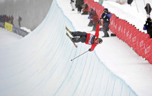 In this Feb. 5, 2011, photo, Sarah Burke, of Canada, competes in the women's halfpipe finals at the freestyle skiing world championships in Park City. Burke died Thursday morning at University Hospital in Salt Lake City, her publicist and hospital officials confirmed. The 29-year-old had been comatose since hitting her head in a fall at the superpipe at Park City Mountain Resort on Jan. 10. (AP Photo/Mark J. Terrill)