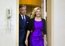 David Goldman  |  The Associated Press Republican presidential candidate, former Utah Gov. Jon Huntsman and his wife Mary Kaye, arrive for a news conference in Myrtle Beach, S.C, Monday, Jan. 16, 2012,, where he announced his withdrawal from the race.