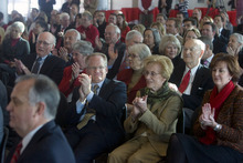 Al Hartmann  |  The Salt Lake Tribune Guests applaud as David Pershing is announced as the new president of the University of Utah at a Utah State Board of Regents meeting at Rice-Eccles Stadium on Friday.