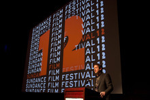 Trent Nelson  |  The Salt Lake Tribune Trevor Groth, director of programming for the Sundance Film Festival, welcomes the audience at the premiere of the film,